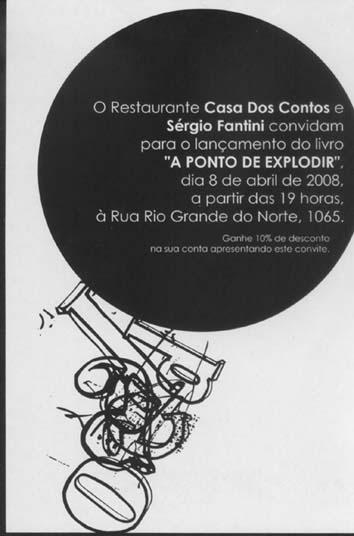 convite: lançamento do livro a ponto de explodir de sérgio fantini