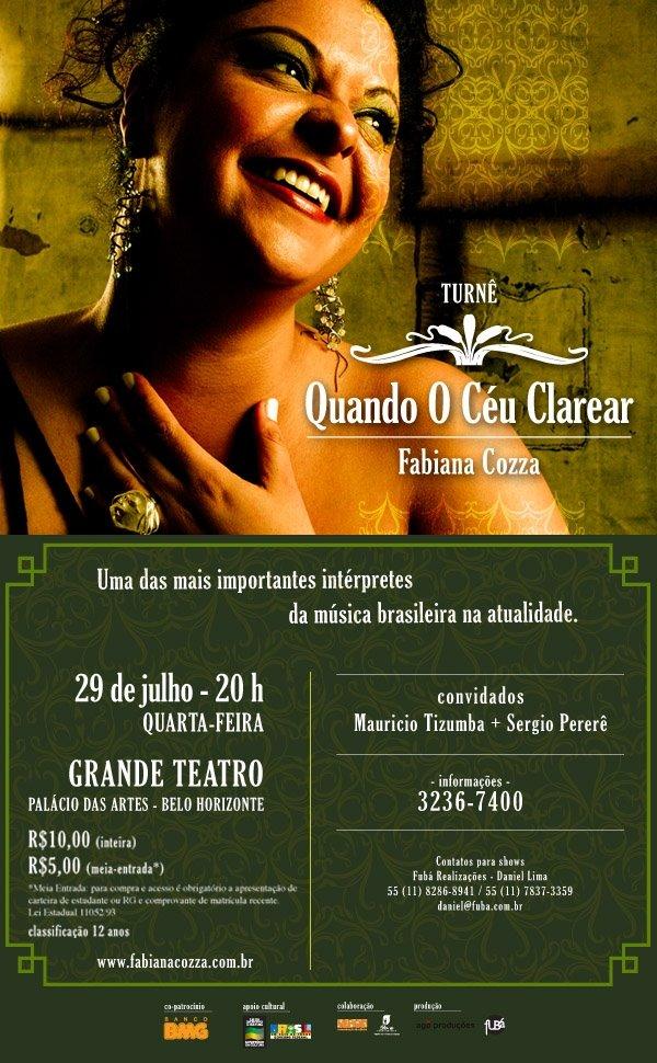 Show de abertura da turnê Quando o céu clarear, de Fabiana Cozza em Belo Horizonte