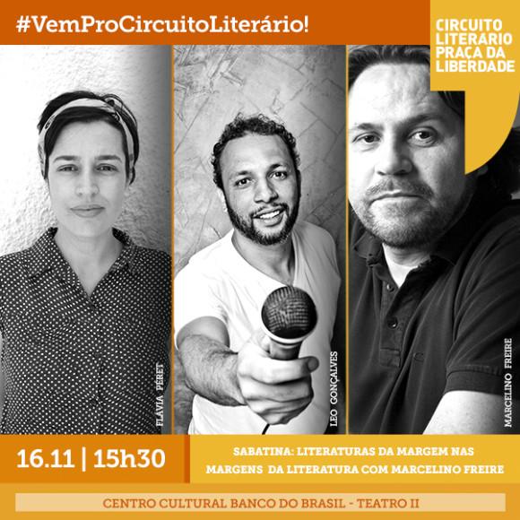 Dia 16/11: Leo Gonçalves e Flávia Peret sabatinam Marcelino Freire