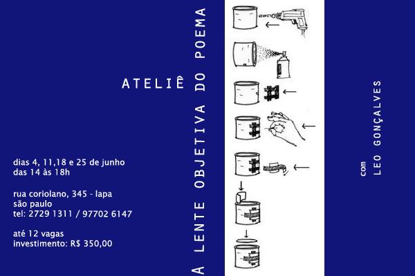 Ateliê: A lente objetiva do poema, com Leo Gonçalves
